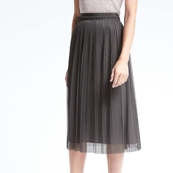 c77be3efa8 Banana Republic Skirts | Pleated Tulle Midi Skirt | Poshmark